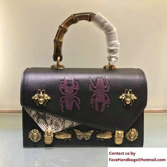 Gucci Metal Bee Insect Print Ottilia Leather Small Top Handle Bag 488715 Black 2017