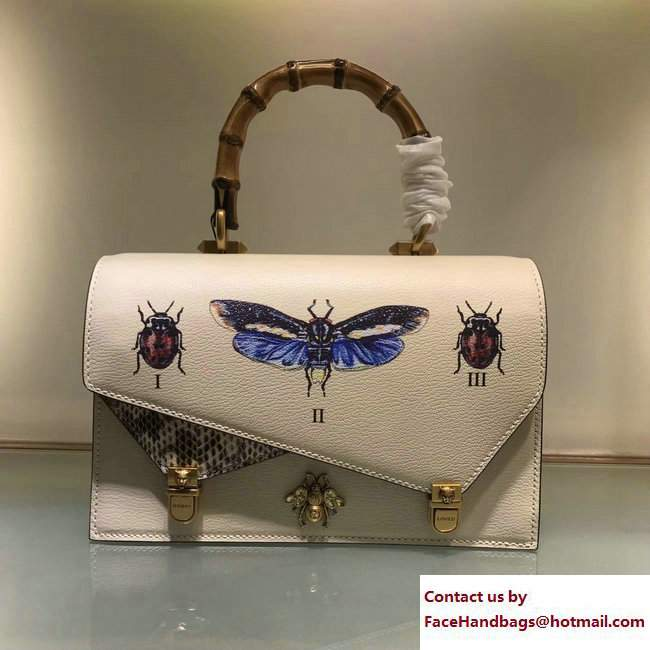 Gucci Metal Bee Insect Print Ottilia Leather Small Top Handle Bag 488715 White 2017