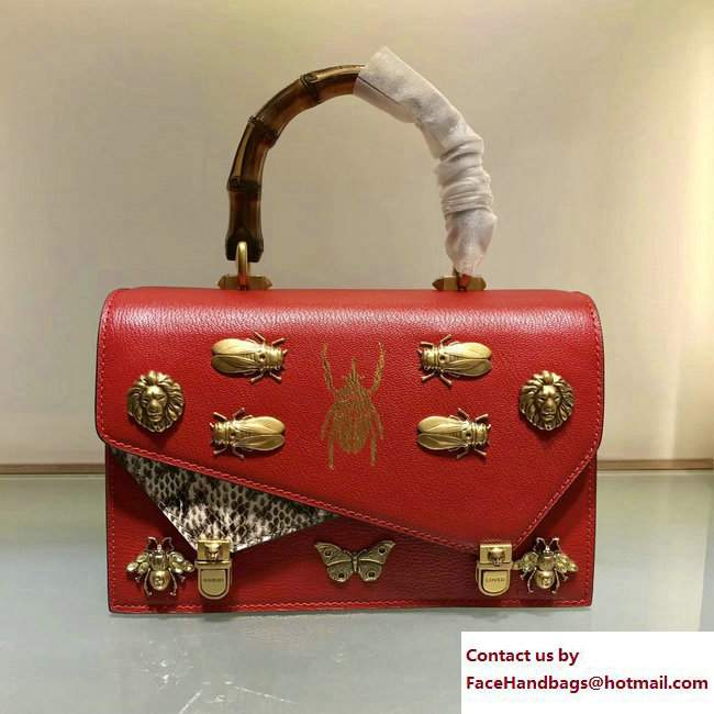 Gucci Metal Bee Insect Print Ottilia Leather Small Top Handle Bag 488715 red 2017