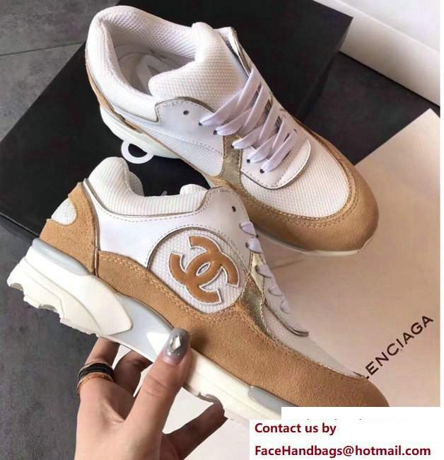 Chanel Sneakers Suede Camel/White