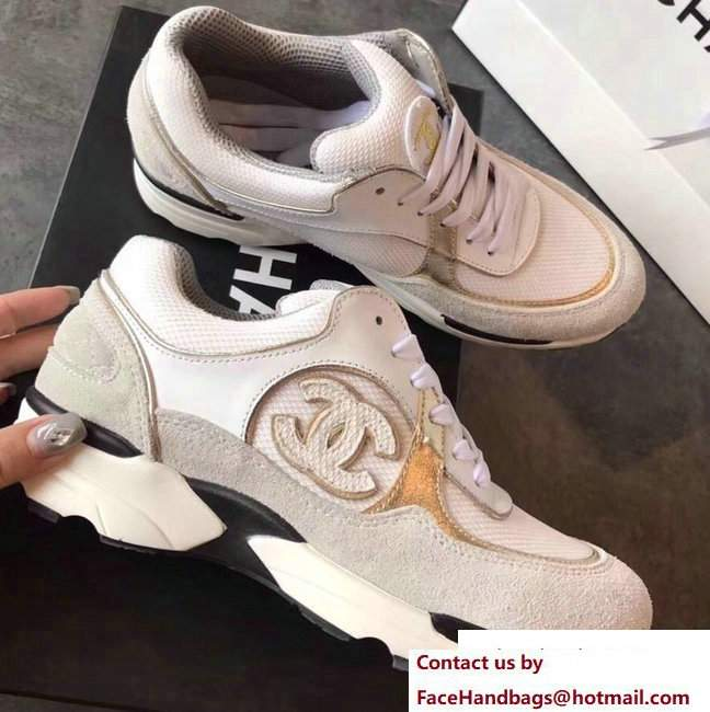 Chanel Sneakers Suede Creamy